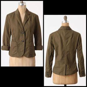 Anthro Cartonnier Olive Green Linen Blazer Jacket